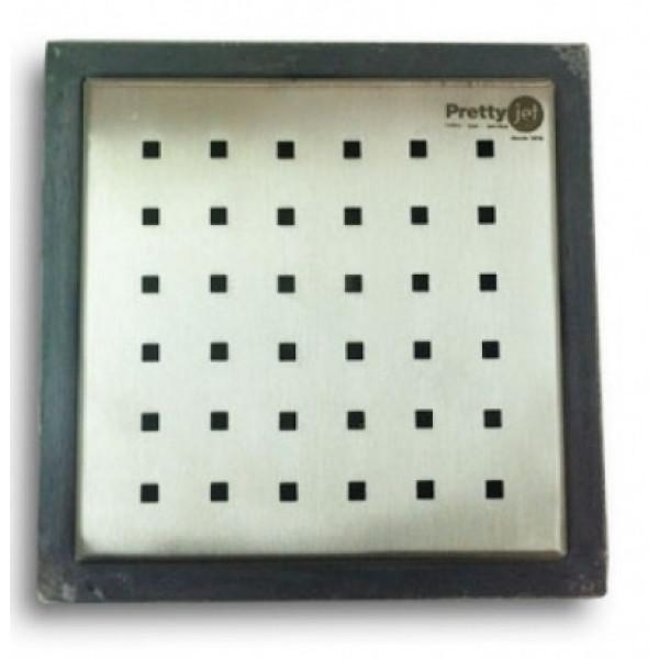Ralo Quadrado 10 x 10 x 5,3 cm Tampa Inox perfurado